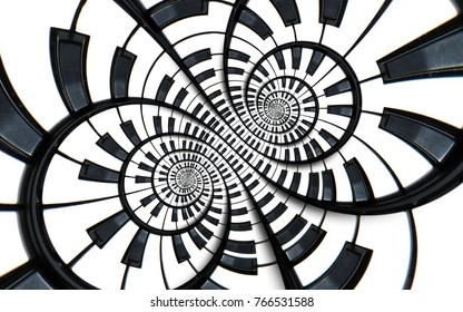 Distorted Piano keyboard music swirl abstract fractal spiral pattern background. Black and white piano round spiral. Spiral Piano pattern abstract background piano spiral effect. Musical staircase