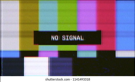 A distorted tv transmission screen: the noisy SMPTE color bars (a television screen test pattern) with the text No signal.