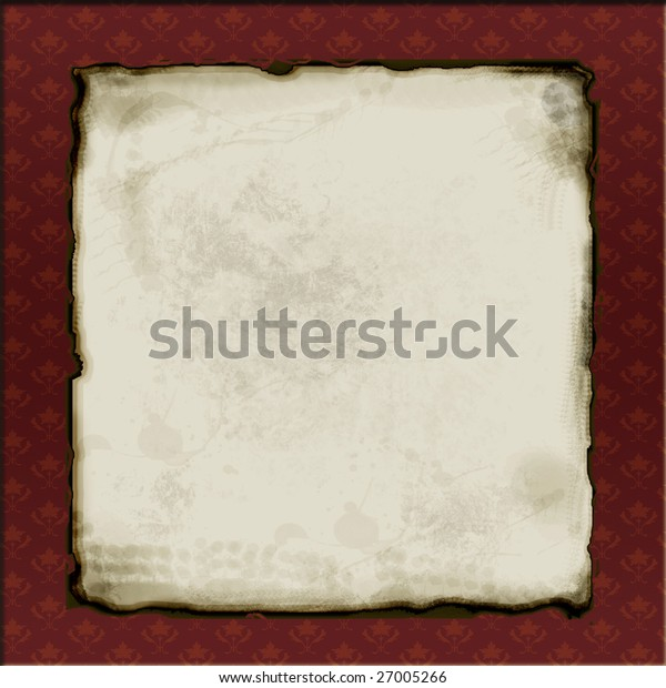 Distressed aged paper in maroon frame with flowers.