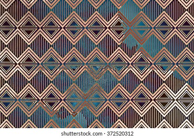 A distressed colorful background overlaid with sections of thin pinstriped diamond shapes and bordered triangles.