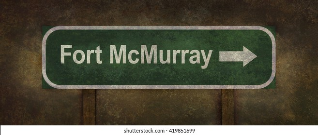 Distressed Fort McMurray road sign illustration with direction arrow and ominous background