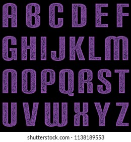 Distressed purple metal rounded bold font style full alphabet capital letter set 3D illustration with a rough worn metallic texture and dark purple color on a black background with clipping path