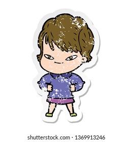 distressed sticker of a cartoon happy woman