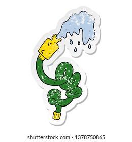 distressed sticker of a cartoon hosepipe
