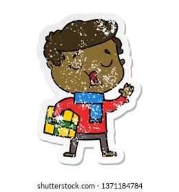 distressed sticker of a cartoon man carol singing