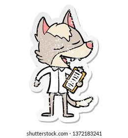 distressed sticker of a cartoon saleman wolf laughing