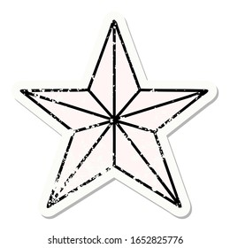 distressed sticker tattoo in traditional style of a star
