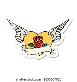 distressed sticker tattoo in traditional style of a flying heart with flowers and banner