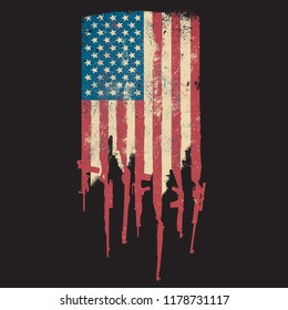 Distressed United States of America USA Flag Made of Guns and Rifles