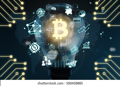 Distributed ledger technology . Light bulb, block chain text , blockchain icons and electric circuits graphic ,cryptocurrencies or bitcoin concept