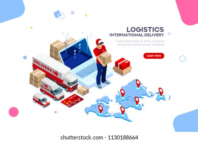 Distribution, global factory infographic. Good trade and logistics, international delivery. Supply network insurance. Vehicle, isometric truck illustration, cargo isolated on white background.