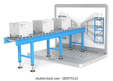 Distribution. Industrial Conveyor with cardboard Boxes connected to Laptop Screen. Warehouse shelves.