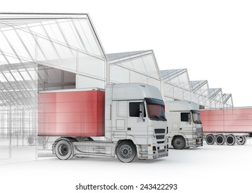 distribution process - truck near loading docks