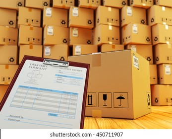 Distribution warehouse interior, packages shipment, freight transportation and delivery service concept, clipboard with receipt form and cardboard box in front of stack of parcels, 3d illustration