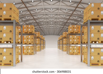 Distribution warehouse logistics, package shipment, freight transportation and delivery concept, cardboard boxes on pallets in storehouse office building interior