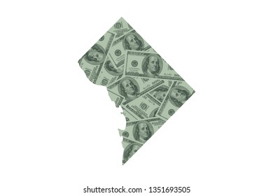 District of Columbia, Washington D.C. State Map and Money Concept, Hundred Dollar Bills