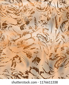 Distrorted flowers on liquified horizontal stripped background