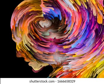 Disturbing Thoughts series. Moody paint in motion inside human face silhouette. Artwork on inner world, mind, psychology, depression, anxiety, mental illness, creativity and abstract art.