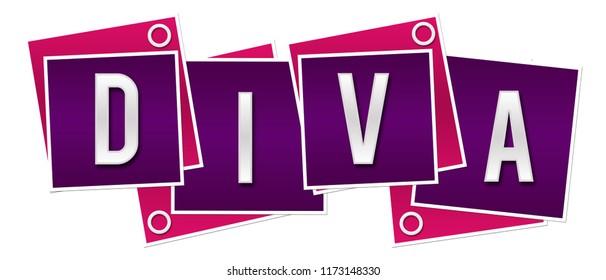Diva text written over pink purple background.