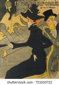 Divan Japonais, by Henri de Toulouse-Lautrec, 1892-93, French Post-Impressionist print, lithograph. This poster advertised the nightclub, with two of his favorite Montmartre performers, Yvette Guilber