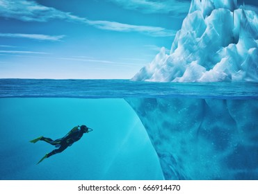 Diver swimming near an iceberg. This is a 3d render illustration.