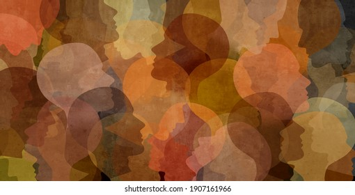 Diverse culture in society and social justice together as a crowd of diverse people representing community and black history or cultural celebration of diversity in a 3D illustration style.