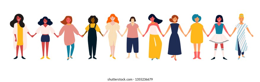 Diverse female group. African, mexican, indian, european women team. Girls power. Group of young happy smiling friends, standing together, symbol of feminists. Cartoon characters isolated,