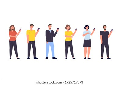 Diverse focus group of peoples concept. People with smartphone in hands.  illustration