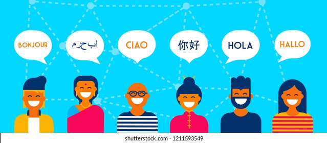 Diverse group of people talking in different languages. Multi cultural team concept illustration ideal for web banner.