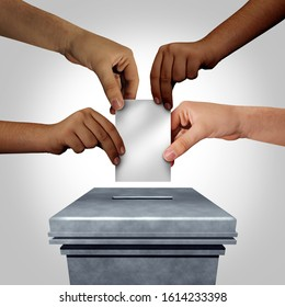 Diverse hands casting a ballot at a voting polling station as a right to vote concept or diversity in democracy as multicultural hands holding a blank decision document with 3D illustration elements.