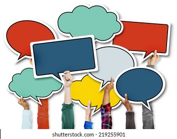 Diverse Hands Holding Colorful Speech Bubbles
