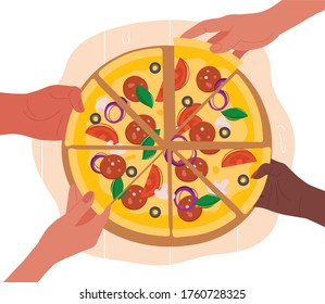 Diverse hands taking slices of pizza from wooden board.  Flat modern trendy style.illustration icon. Isolated on white background. - Shutterstock ID 1760728325