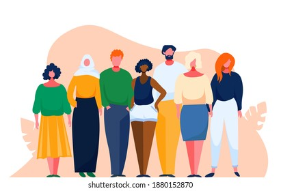 Diverse multinational group of people. Multicultural and multiethnic crowd. illustration with cartoon characters. Man and woman of different nations stay together as a team