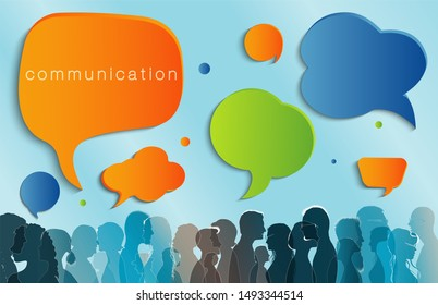 Diverse people. Large isolated group people in profile talking silhouette. Speech bubble. Crowd speaks. Concept to communicate. Social networking. Multi-ethnic people dialogue. Clouds. Talk
