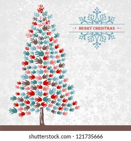 Diversity Christmas Tree hands background for greeting card.
