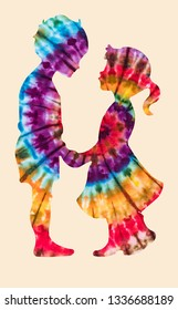 Diversity of people represented in tie dye colored silhouette of a young boy and girl holding hands looking at each other.