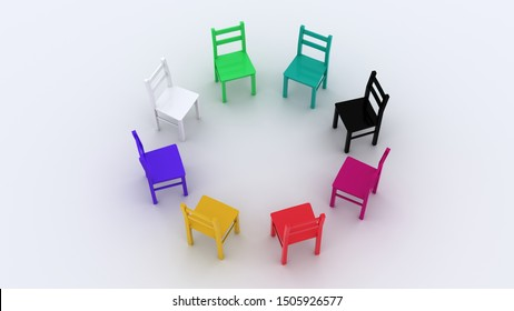 Diversity symbolized through chairs of different colors arranged in a circle. Metaphor of equality and inclusion in workspace or society. 3d rendering illustration of a concept.