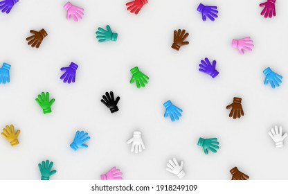 Diversity symbolized through gloves or hands of different colors arranged in a random background pattern. Metaphor of equality and inclusion in workspace or society. 3d illustration of a concept.