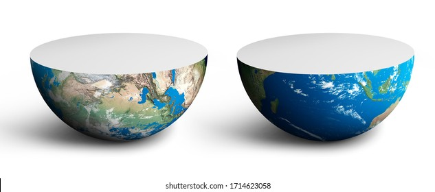 Divided globe on two half, Divided earth on two half, 3d illustration