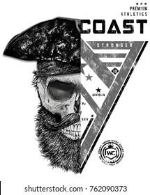 divided two different designi pirate skull, t shirt graphic design. illustration.