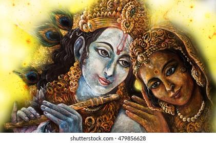 divine couple krishna and radha togerher, painting illustration.