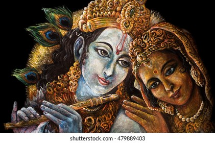 divine couple krishna and radha togerher, painting illustration.