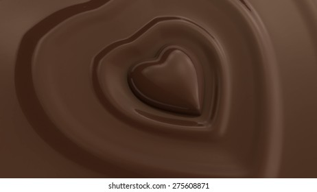 diving into delicious chocolate heart 3d rendering