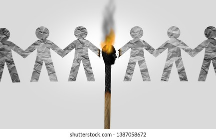 Divisive politics and a symbol for a divider politician and splitting social opinion or dividing to inflame society with political rhetoric to fan the flames of  hatred with 3D illustration elements.
