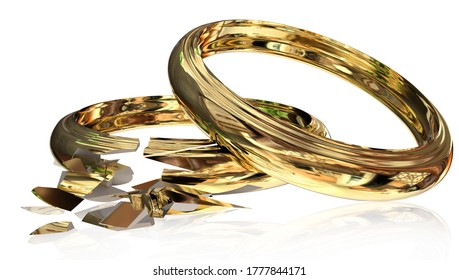 divorce broken golden  ring like marriage and relationship  isolated - 3d rendering