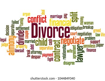 Divorce word cloud concept on white background.