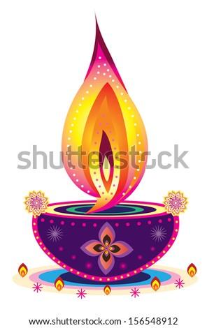 Beautiful Diwali Candle Light   Indian New Year Celebrating Oil Lamp