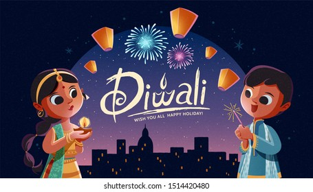 Diwali children holding oil lamp and sparkler with sky lanterns in the city night background