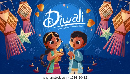 Diwali children holding oil lamp and sparkler with hanging Indian lanterns and sky lanterns in the background