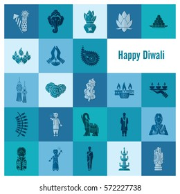 Diwali. Indian Festival Icons. Simple and Minimalistic Style.